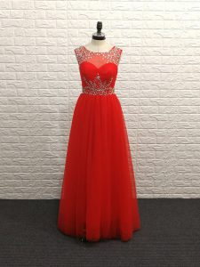 Customized Red Empire Scoop Sleeveless Chiffon Floor Length Backless Beading Evening Gowns