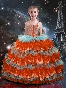 Multi-color Lace Up Straps Beading and Ruffled Layers Little Girls Pageant Gowns Organza Sleeveless
