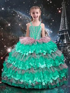 Pretty Straps Sleeveless Little Girls Pageant Dress Floor Length Beading and Ruffled Layers Turquoise Organza