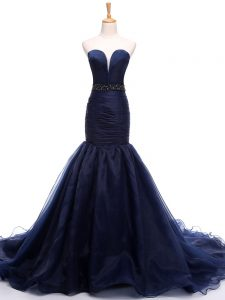 Beautiful Sleeveless Court Train Beading and Ruching Lace Up Pageant Dress Wholesale