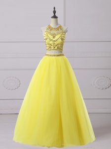 Floor Length A-line Sleeveless Yellow Custom Made Pageant Dress Backless