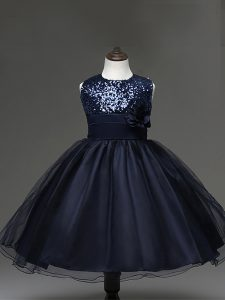 Charming Tulle Sleeveless Knee Length Pageant Dress and Sequins and Hand Made Flower