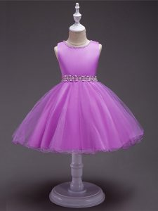 Lilac Organza Zipper Little Girl Pageant Gowns Sleeveless Knee Length Beading