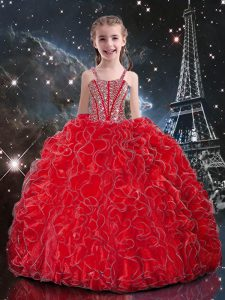 Coral Red Ball Gowns Organza Straps Sleeveless Beading and Ruffles Floor Length Lace Up Pageant Gowns For Girls
