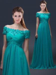 Shining Floor Length Teal Pageant Gowns Chiffon Short Sleeves Appliques