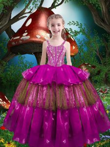 Stylish Floor Length Fuchsia Little Girls Pageant Gowns Organza Sleeveless Beading and Ruffled Layers