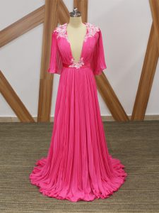 Hot Pink Chiffon Backless Pageant Dress Womens Half Sleeves Sweep Train Lace and Appliques and Pleated