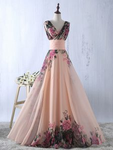 Peach Empire Ruching Pageant Dress Wholesale Lace Up Printed Sleeveless Floor Length
