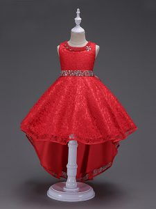 Excellent Sleeveless High Low Beading Lace Up Little Girls Pageant Gowns with Red