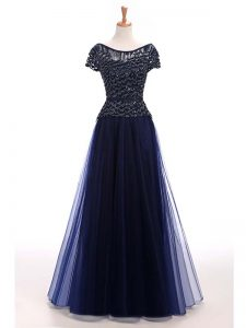 Short Sleeves Lace Up Floor Length Beading Evening Gowns