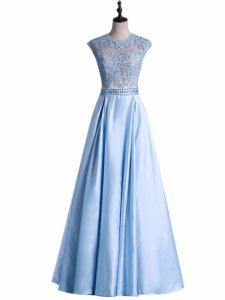 Light Blue Pageant Dress for Girls Prom and Military Ball with Beading and Lace Scoop Sleeveless Zipper