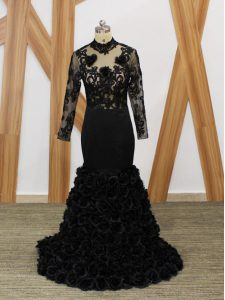 Black Backless High-neck Beading and Lace and Appliques and Hand Made Flower Pageant Dress for Womens Fabric With Rolling Flowers Long Sleeves Brush Train