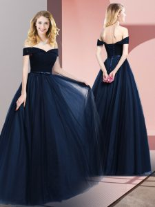Navy Blue Sleeveless Floor Length Beading and Ruching and Belt Lace Up Pageant Dresses