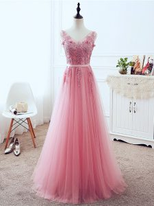 Pink Sleeveless Floor Length Lace and Appliques and Belt Lace Up Evening Gowns
