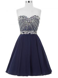 Admirable Navy Blue Sweetheart Lace Up Beading Pageant Dress for Teens Sleeveless