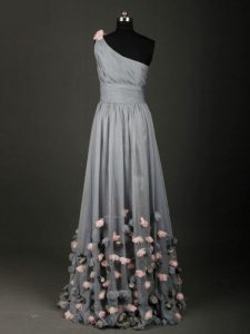 Fantastic Sleeveless Backless Floor Length Pleated and Belt and Hand Made Flower Glitz Pageant Dress