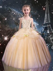 Latest Floor Length Peach Pageant Dresses Tulle Sleeveless Beading