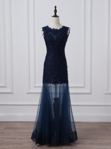 Flirting Floor Length Navy Blue Pageant Dresses Tulle Sleeveless Lace and Appliques