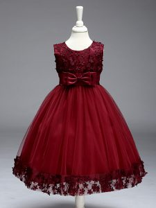 Burgundy Tulle Zipper Little Girls Pageant Gowns Sleeveless Knee Length Lace and Bowknot