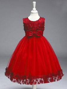 Wine Red Sleeveless Tulle Zipper Pageant Gowns For Girls for Wedding Party