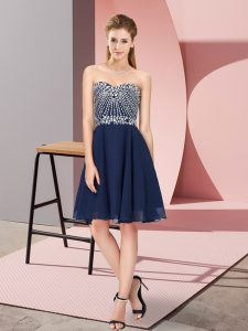 Spectacular Navy Blue Sweetheart Neckline Beading Pageant Dress for Girls Sleeveless Lace Up