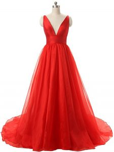 Ruching Pageant Dress Red Backless Sleeveless Brush Train