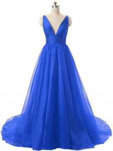 Flare Royal Blue A-line Organza V-neck Sleeveless Ruching Backless Pageant Dress Wholesale Brush Train