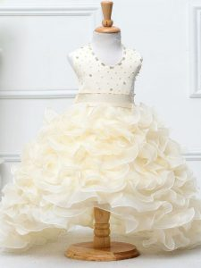 Popular Beading and Ruffles Little Girl Pageant Dress Champagne Zipper Sleeveless High Low