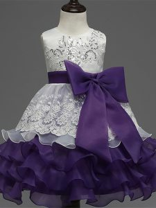 Scoop Sleeveless Organza Little Girl Pageant Gowns Lace and Ruffled Layers and Bowknot Zipper