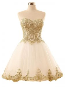 Eye-catching Sleeveless Mini Length Lace and Appliques Lace Up Winning Pageant Gowns with Champagne