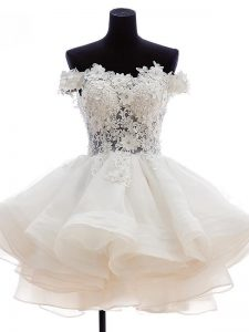 Beading and Lace and Embroidery and Ruffles High School Pageant Dress White Zipper Sleeveless Knee Length