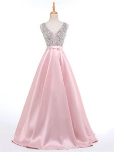 New Arrival Baby Pink Sleeveless Elastic Woven Satin Brush Train Backless Glitz Pageant Dress for Prom and Military Ball