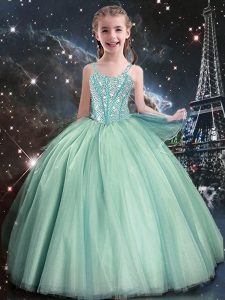 Enchanting Turquoise Tulle Lace Up Straps Sleeveless Floor Length Girls Pageant Dresses Beading