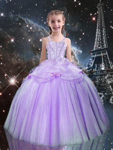 Sweet Sleeveless Tulle Floor Length Lace Up Kids Pageant Dress in Lilac with Beading