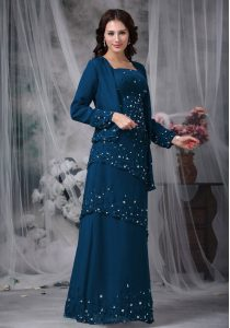 Beautiful Floor Length Zipper Pageant Dresses Navy Blue for Prom and Party with Beading