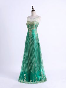 Green Column/Sheath Tulle Sweetheart Sleeveless Beading and Appliques Floor Length Lace Up Pageant Dress Womens