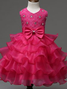 Hot Pink Scoop Zipper Lace and Ruffled Layers and Bowknot Little Girls Pageant Dress Sleeveless