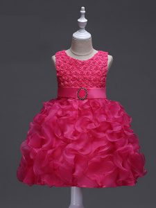 Modern Sleeveless Knee Length Ruffles and Belt Lace Up Little Girl Pageant Gowns with Hot Pink