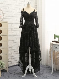 Luxury High Low Zipper Pageant Dress for Womens Black for Prom and Party and Wedding Party with Lace