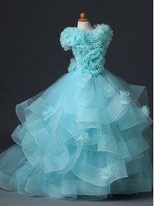 Fantastic Aqua Blue Sleeveless Floor Length Ruffles and Hand Made Flower Lace Up Little Girls Pageant Dress Wholesale