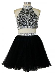 Halter Top Sleeveless Tulle Pageant Dress for Teens Beading Criss Cross