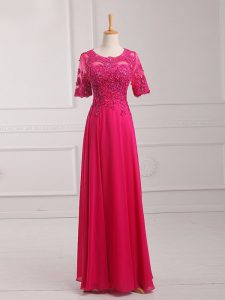 Modern Half Sleeves Lace and Appliques Zipper Pageant Dress for Womens