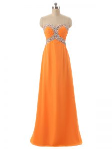 Orange Lace Up Sweetheart Beading and Ruching Pageant Dress for Teens Chiffon Sleeveless