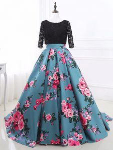 Multi-color Printed Backless Scoop Long Sleeves Pageant Dress Brush Train Lace and Appliques