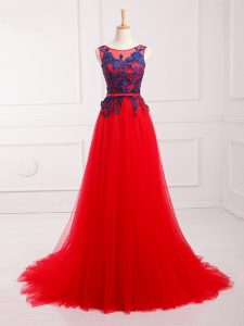 Dazzling Scoop Sleeveless Tulle Pageant Dress for Womens Lace and Appliques Brush Train Lace Up