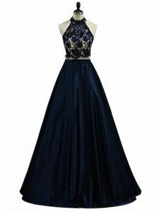 Sleeveless Floor Length Lace and Appliques Zipper Pageant Dress for Girls with Navy Blue