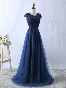 Low Price Navy Blue Empire Scoop Short Sleeves Tulle Floor Length Zipper Lace and Appliques Winning Pageant Gowns