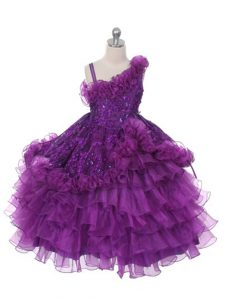 Asymmetric Sleeveless Lace Up Girls Pageant Dresses Purple Organza