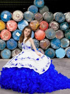 Cheap Lace Up Pageant Dress for Girls Blue And White for Quinceanera and Wedding Party with Embroidery and Ruffled Layers Brush Train