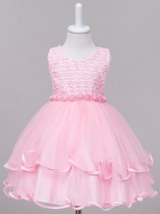 Baby Pink Ball Gowns Scoop Sleeveless Tulle Knee Length Zipper Lace Custom Made Pageant Dress